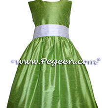 CUSTOM APPLE GREEN FLOWER GIRL DRESSES