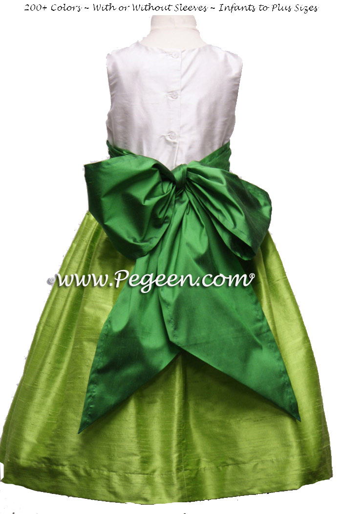 APPLE GREEN AND SHAMROCK SILK FLOWER GIRL DRESSES