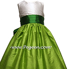 apple green and emerald flower girl dresses