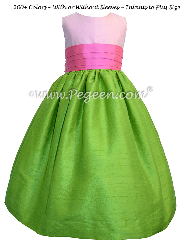 APPLE GREEN, SHOCK PINK AND BUBBLEGUM CUSTOM FLOWER GIRL DRESSES