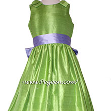 Apple Green and wisteria flower girl dresses Style 398 by Pegeen