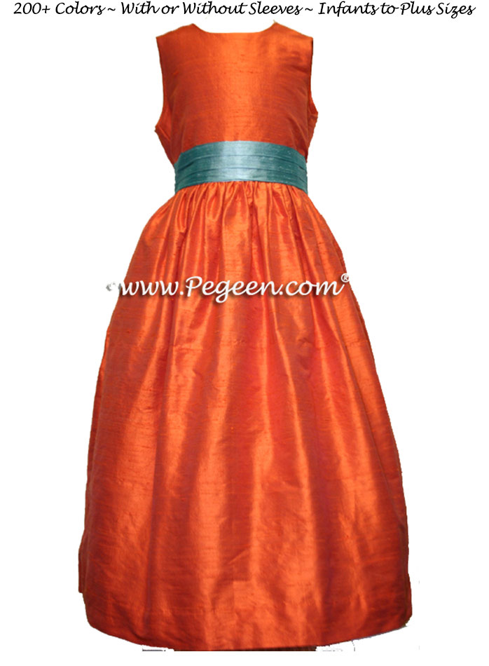 Orange and adriatic silk FLOWER GIRL DRESSES by Pegeen