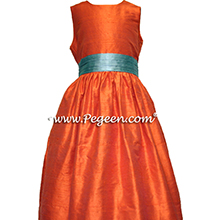 orange and aqua silk flower girl dresses