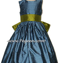 arial blue and grass green flower girl dresses