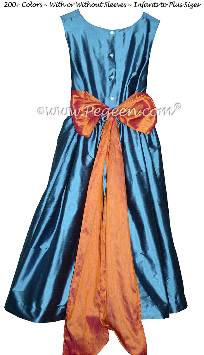 Arial Blue and Mango Orange flower girl dresses to match Ann Taylor bridesmaids dresses