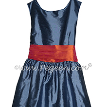 Arial blue and mango orange Silk Flower Girl Dresses by PEGEEN
