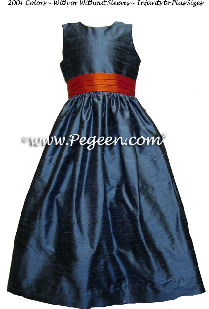 arial blue and tangerine silk FLOWER GIRL DRESSES