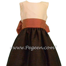 Chocolate, Autumn and New ivory Silk flower girl dresses by PEGEEN