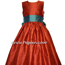 flower girl dresses for fall weddings in Autumn (burnt orange) and teal