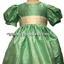 aqualine silk flower girl dresses