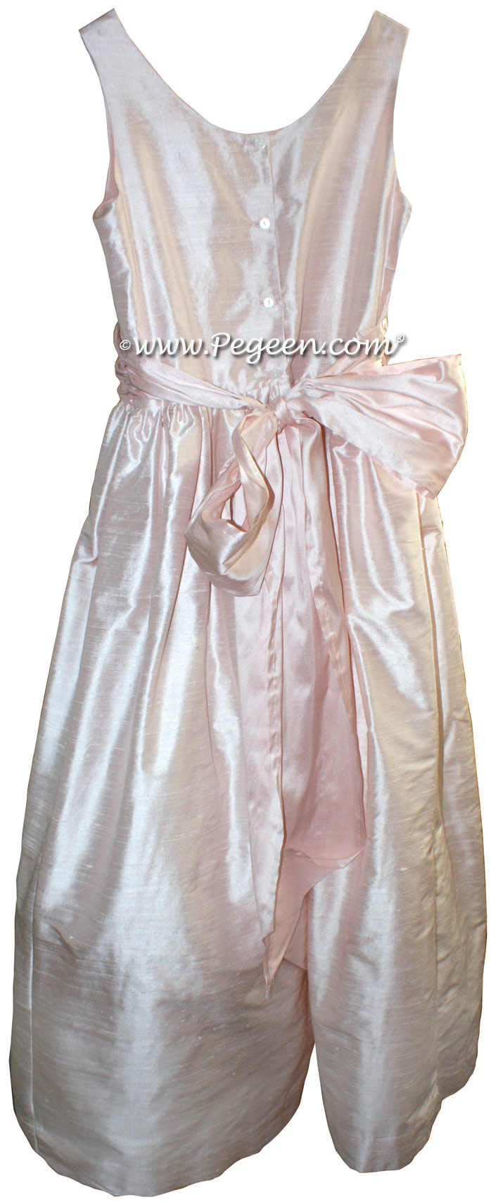 Blush Pink and Petal Pink FLOWER GIRL DRESSES with bustle and flowers