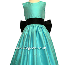 bahama breeze (tiffany blue) and black flower girl dresses