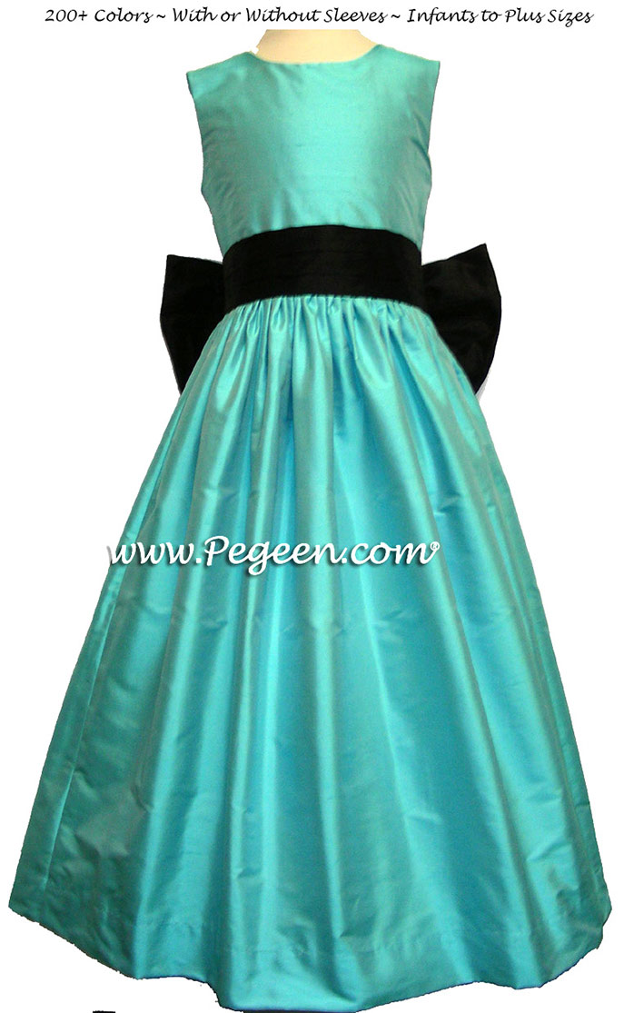 Flower Girl Dresses in bahama breeze (tourquoise) and black