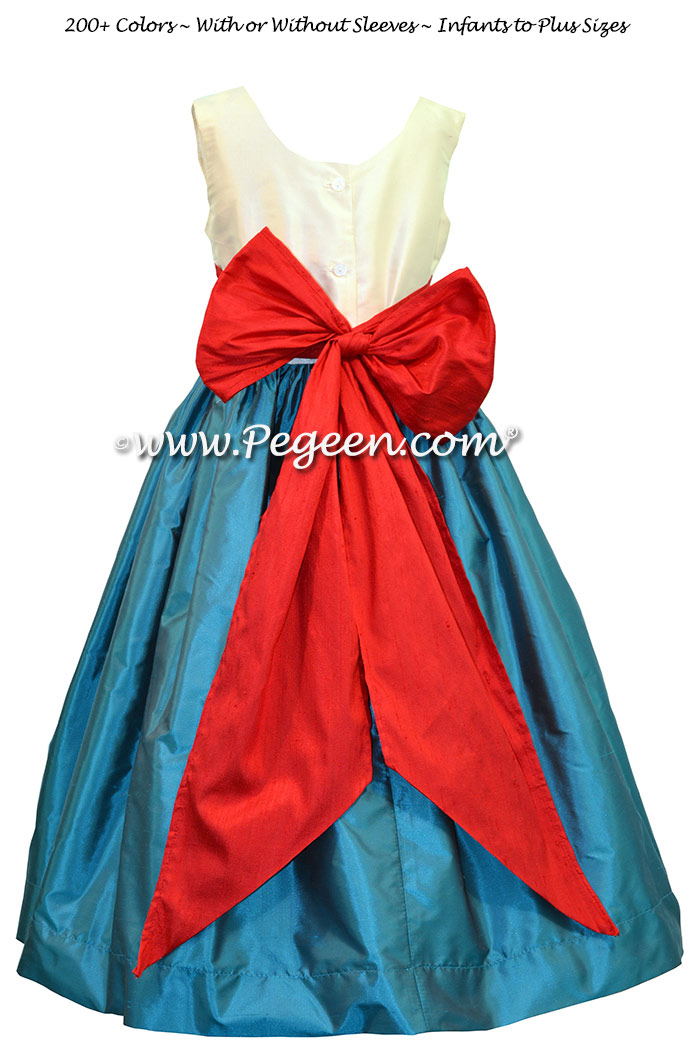 Bisque, Christmas Red and Baltic Sea Jr. Bridesmaid dress