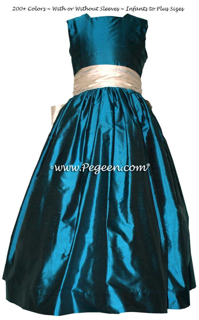 BALTIC SEA (DARK TEAL) and BISQUE (CREME) silk flower girl dresses