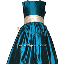 BALTIC SEA (DARK TEAL) and BISQUE (CREME) FLOWER GIRL DRESS Style 398 by Pegeen