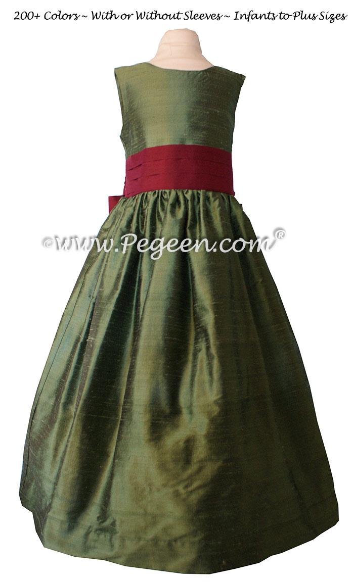 Silk Flower Girl Dresses Basil and Cranberry | Pegeen