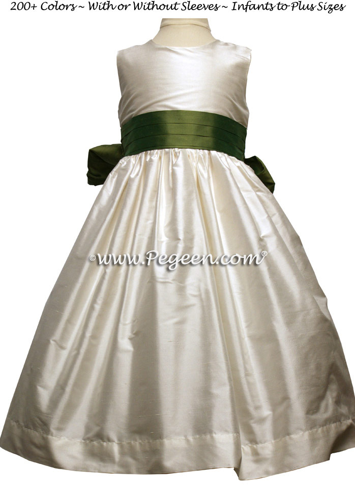 BASIL GREEN (CLOVER) and NEW IVORY silk flower girl dresses