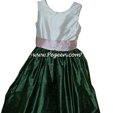 New Ivory, Petal Pink and Golf Green Flower Girl Dresses Style 398