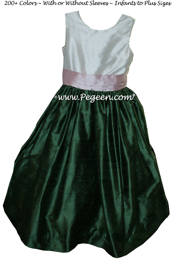 Bisque and Golf Green flower girl dresses