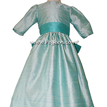 Flower Girl Dresses in Bermuda Teal and Seaside Aqua