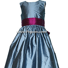 STORM BLUE AND Berry silk Flower Girl Dresses