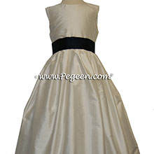 BLACK AND BISQUE FLOWER GIRL DRESS Style 398 by Pegeen