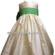 Clover silk and  Bisque silk flower girl dresses