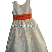 Flower Girl Dresses in Bisque and Orange - Pegeen Classic Style 398