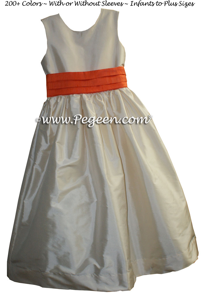 Flower Girl Dresses in Bisque and Orange -  Classic Style 398
