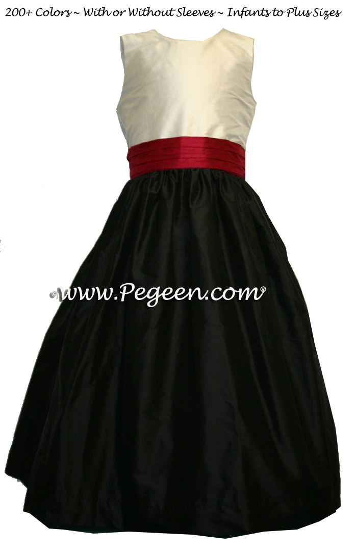 Black and cranberry sash flower girl dresses