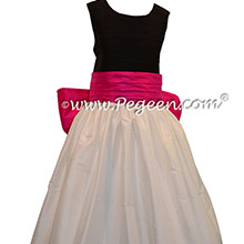 Antique White, Black and Luscious Pink silk Flower Girl Dress - Pegeen Style 398