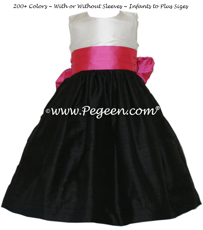 Flower Girl Dress Style 398 in Black, Shock and White | Pegeen