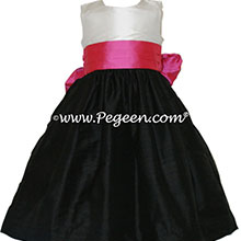 Black and shock (hot pink) and white silk flower girl dresses