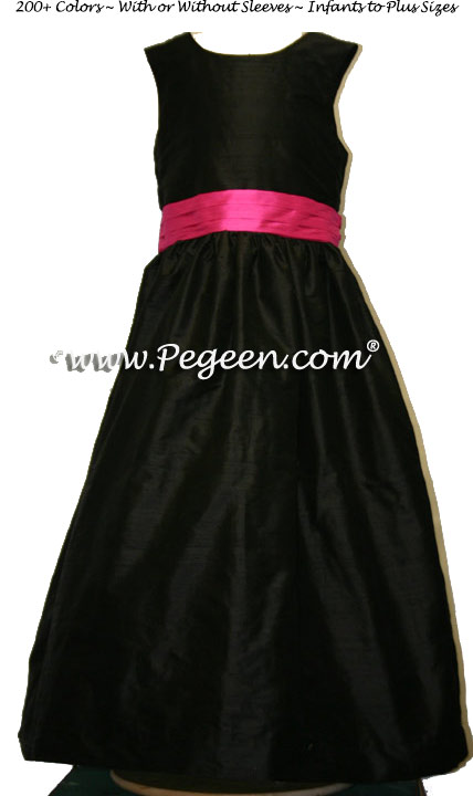 Black and hot pink sash flower girl dresses