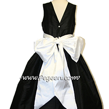 black and white silk flower girl dresses