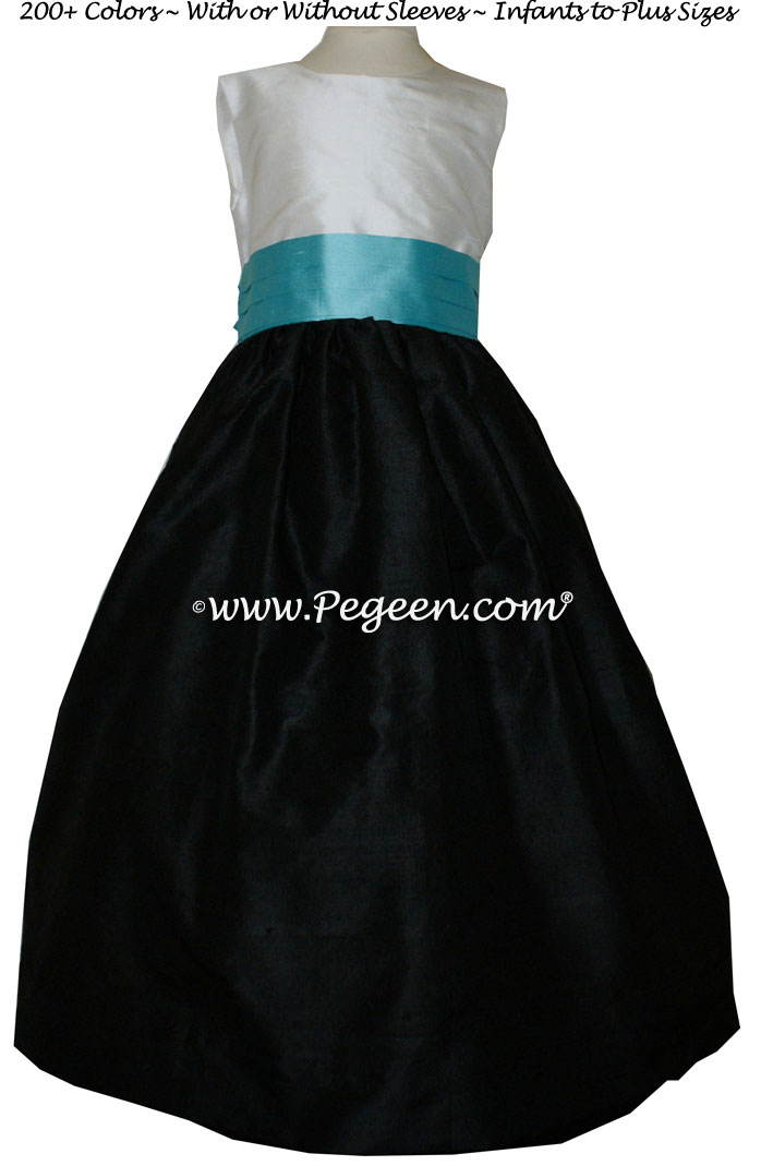 Black and Tiffany Blue CUSTOM FLOWER GIRL DRESSES