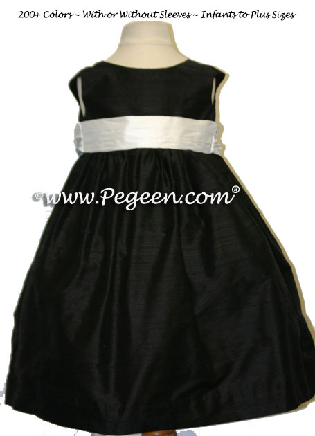 BLACK AND WHITE SILK CUSTOM FLOWER GIRL DRESSES