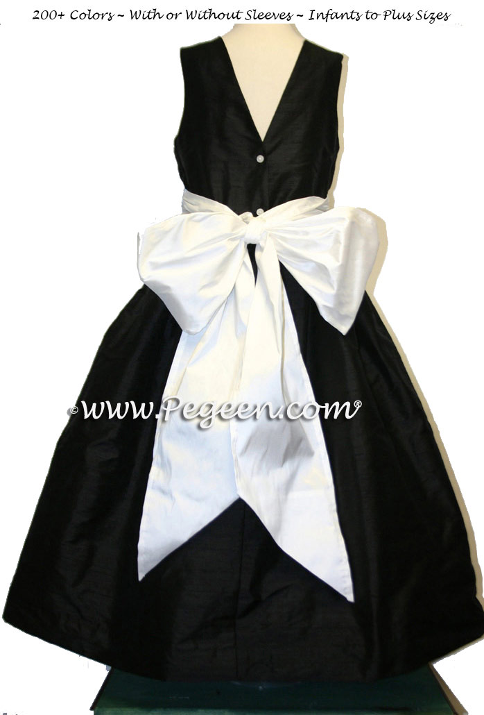 47e59150b Flower Girl Dresses in Black and White Silk with a V-Back