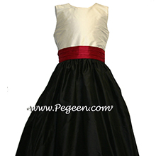 black and cranberry red junior bridesmaids dresses