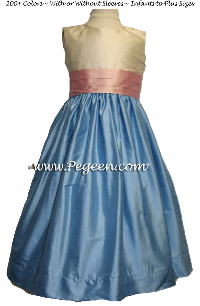 CORNFLOWER BLUE, PINK AND IVORY SILK JUNIOR BRIDESMAIDS DRESS
