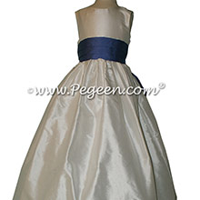 Antique White and Blueberry silk Flower Girl Dress - Style 398