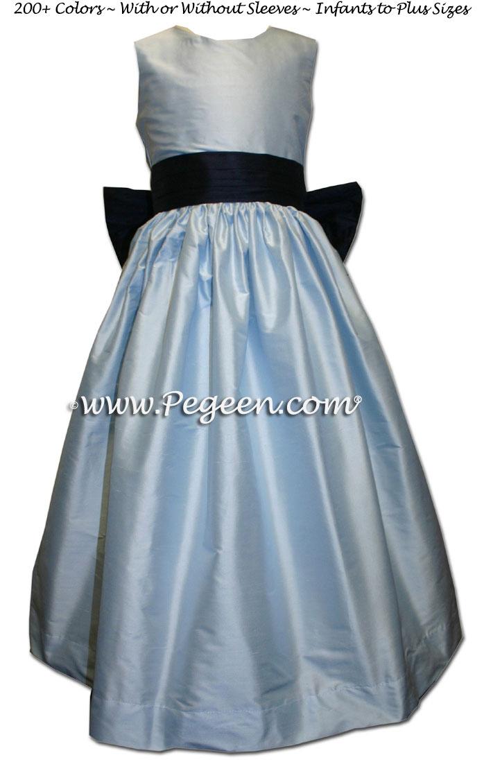 Baby blue and navy silk flower girl dresses