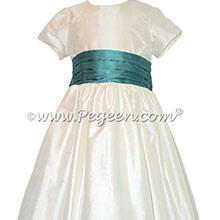 New Ivory and Blue Spruce Silk flower girl dresses with 1/4 cap sleeves