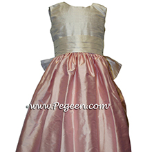 BLUSH PINK AND RUM PINK PINK Silk flower girl dresses