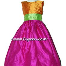 Boing, tangerine and apple green silk Flower Girl Dresses by Pegeen