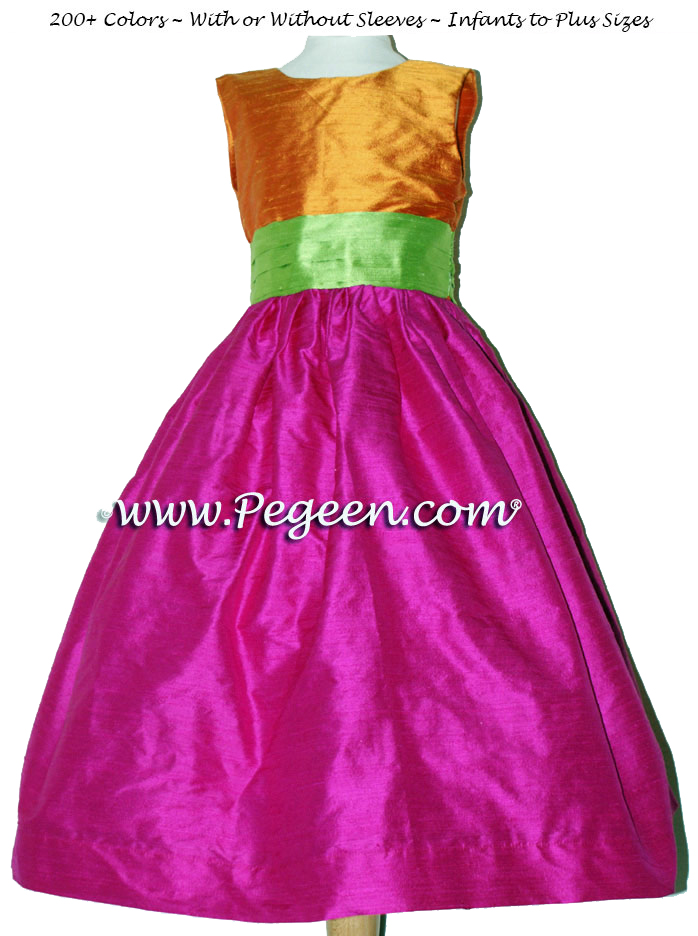 Boing (fuschia), tangerine and apple green SILK FLOWER GIRL DRESSES