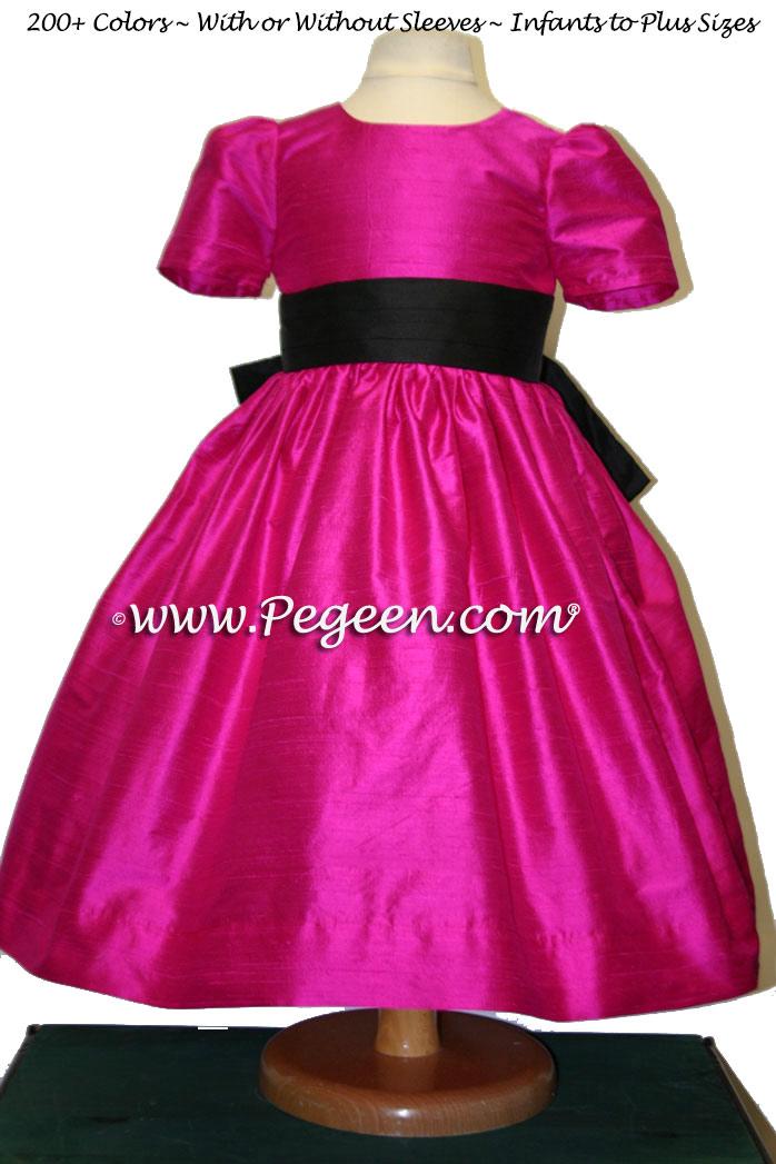 BOING (FUSCHIA) AND BLACK flower girl dresses