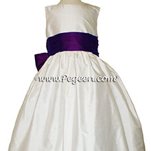 Boisenberry and Antique White silk Flower Girl Dresses -  Style 398