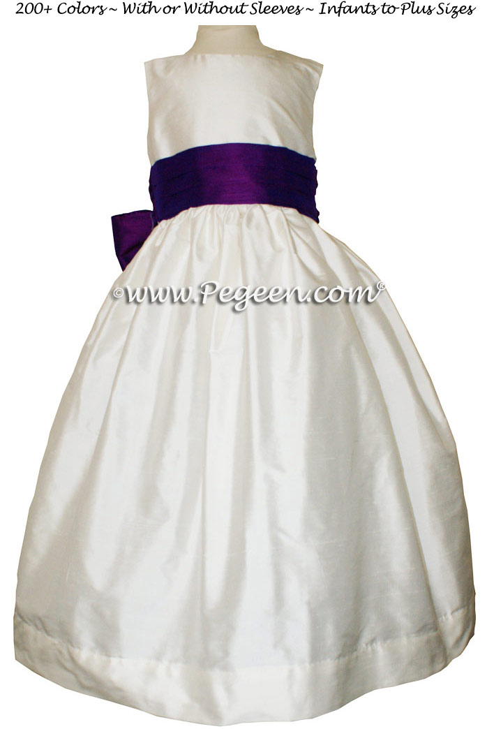 Boisenberry and Antique White FLOWER GIRL DRESSES